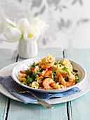 Pasta with shrimps, chilli and tomatoes