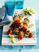 Peri peri chicken and vegetable kebabs