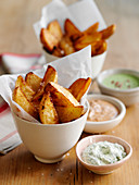 Potato wedges with various dips