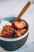 Apricot and plum crumble with quinoa and oatmeal
