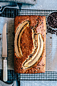 Banana bread with chocolate drops and olive oil