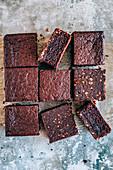 Chocolate cake with ground peanuts