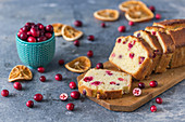 Orange cranberry cake, sliced