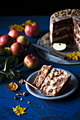 Slice of an apple walnut layer cake
