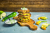 Courgette and sweetcorn fritters with herb cream cheese