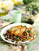 Grilled haloumi on a puy lentil and vegetable salad