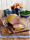 Roast beef with mustard, sliced (England)