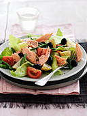 Nicoise salad with salmon and olives