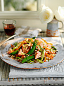 Rice salad with salmon and mangetout