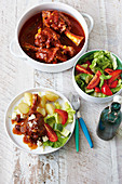 Greek-style braised lamb shanks with lemon and feta cheese