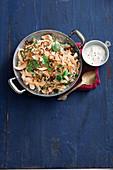 Crunchy pappadum and coriander pilaf