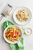 Speedy peperonata penne, Tortellini with creamy mushroom and white wine sauce