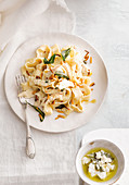 Creamy cauliflower pappardelle with almonds and crispy sauce