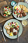 Lemon and oregano rissoles with greek salad