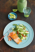 Grilled ocean trout with apple, lime and cucumber salad