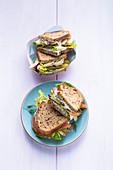 Cucumber cream sandwiches two ways