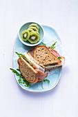 Cream cheese sandwiches with ham and kohlrabi