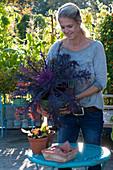Frau zeigt prächtige Brassica 'Peacock' (Zierkohl) im Korb