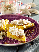 Stockfish cream on polenta slices