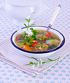 Summer vegetable soup with dumplings