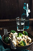 Fusilli pasta with broccoli and gorgonzola sauce
