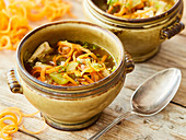 Chicken soup with carrot spaghetti