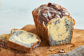 Poppyseed marble cake, sliced