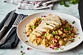 Couscous with chicken breast and pomegranate seeds (one pot)