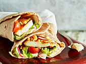 Vegetable and halloumi wraps