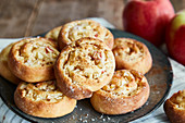 Crispy apple strudel buns with raisins