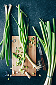 Spring onions, partly chopped