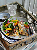 Grilled mackerel and salad with watercress, oranges and chili