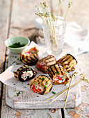 Grilled stuffed aubergines