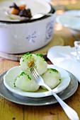 Stuffed potato dumplings with chives