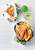 Greek-style chicken quesadillas