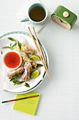 Larb rice paper rolls with chilli lime dipping sauce