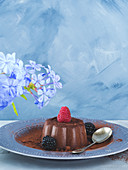Chocolate panna cotta dessert garnished with berries over blue gray background