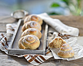Yeast snails with an almond and orange filling, dusted with powdered sugar (vegan)