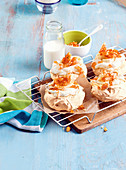 Brown sugar pavlovas with macadamia toffee
