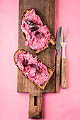 Beetroot spread on bread
