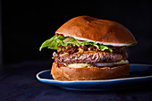 A beefburger on a plate against a dark background (close up)