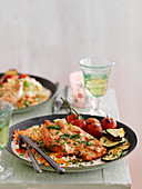 Chicken schnitzel with spicy couscous