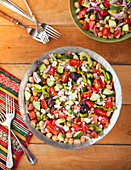Colourful vegetable salad with feta cheese