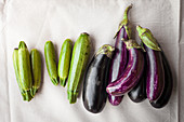 Mini courgettes and aubergines