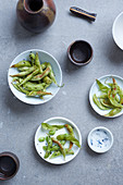 Edamame with salt and black sesame seeds (Japan)