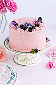 Vanilla layer cake with blackberry buttercream