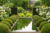 Formaler Garten mit Buchs-Kugeln, Wasserbecken und Hortensien