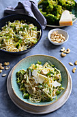 Spaghetti with broccoli, cashew nuts and Parmesan