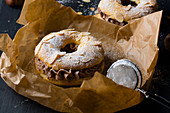 Paris brest with chestnut cocoa cream on baking paper