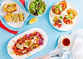 Zucchini-Frittata, Bohnen-Cups und Krautsalat mit Calamari